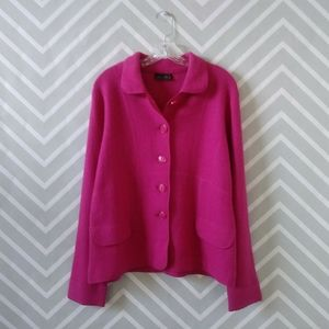 Jane Ashley pink wool blend button up sweater